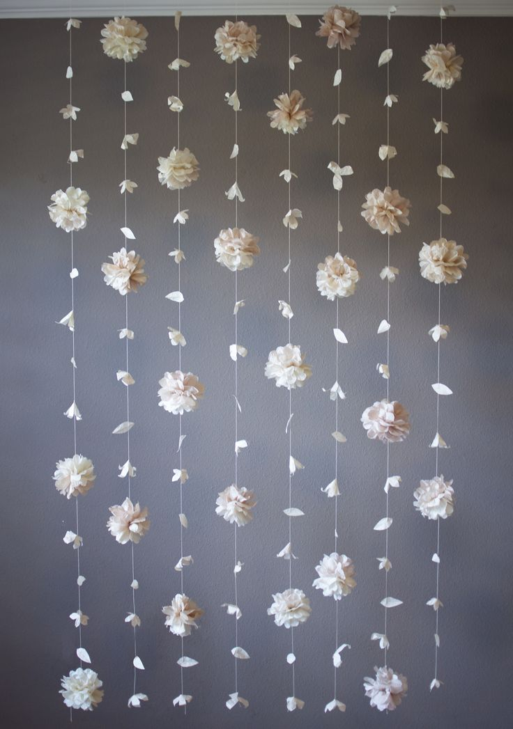 Puff and Paper Flower Garland  Carley and Marks wedding