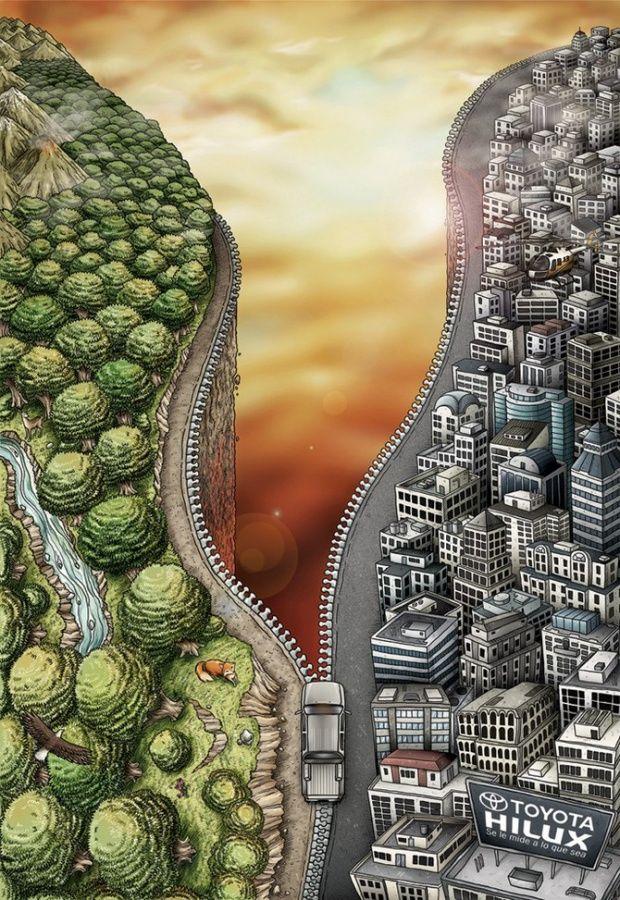 해외)자동차를 지퍼로 표현하고 갈라진 한쪽면은 자연 반대쪽은 도시를 잘 표현했다.