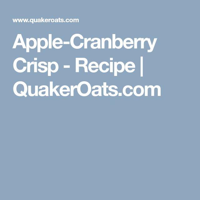 Apple-Cranberry Crisp - Recipe   QuakerOats.com