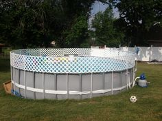 above ground pool fence diy 12inch pvc pipe and white pvc lattice - Above Ground Pool Privacy Screen