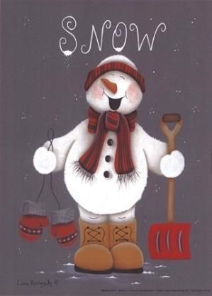 *SNOWMAN ~ Snow Happy by Lisa Kennedy art print by eileen.kolb