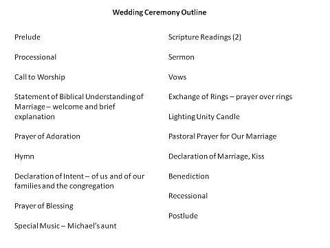 Wedding Ceremony Outline Edit As Needed