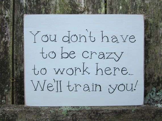 Hand Painted Wooden Off White Funny Office / Work Sign