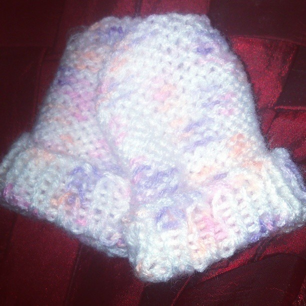 finished multi coloured mittens
