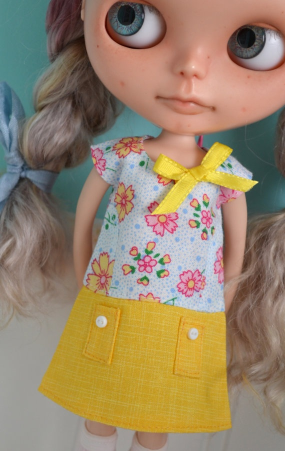 Summer Sun Dress for Blythe  Yellow and by LaPetitePamplemousse, $17.00