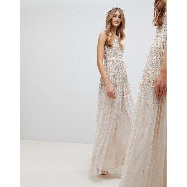 Amelia Rose Embellished Ombre Sequin Cami Strap Maxi Dress ($225) ❤ liked on Polyvore featuring dresses, brown, bodycon dresses, sequin party dresses, bodycon cocktail dresses, party dresses and body con dress