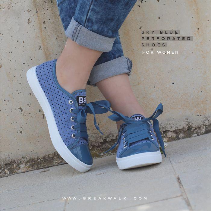 Zapatillas para Mujer en Picado Color Celeste. Break&Walk