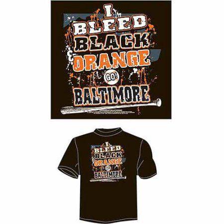 Baltimore Baseball I Bleed Black and Orange, Go Baltimore T-Shirt, Orange, Men's, Size: Medium