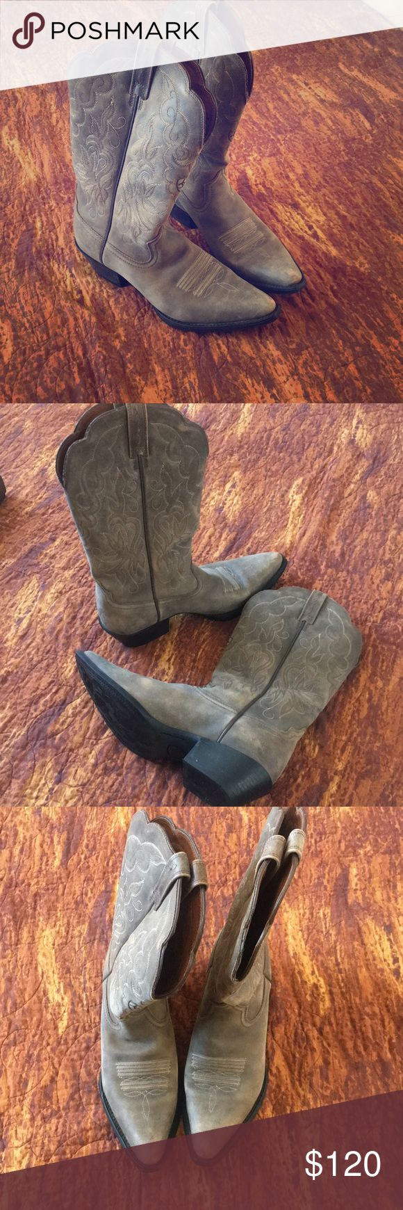 Like NEW Ariat cowboy Boots Leather I wore these one evening and have been sitting in my closet. Quality Ariat Brand- beautiful stitching. Classic cowgirl cowboy boots! Ariat Shoes