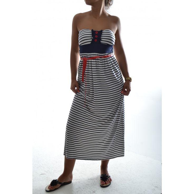 Dámske pásikavé šaty bez ramienok - bielo-modré