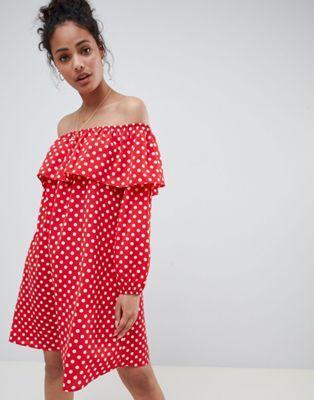 Glamorous off shoulder dress in polka dot  fd3688f061c78