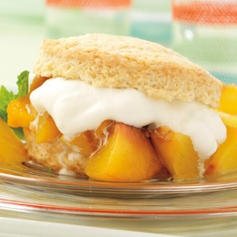 Peach shortcakes (the peaches are grilled; the shortcake isn't)