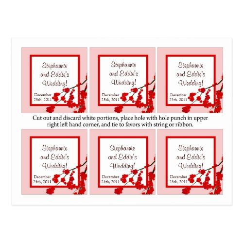 Favor Tags Red Cherry Blossom Postcard