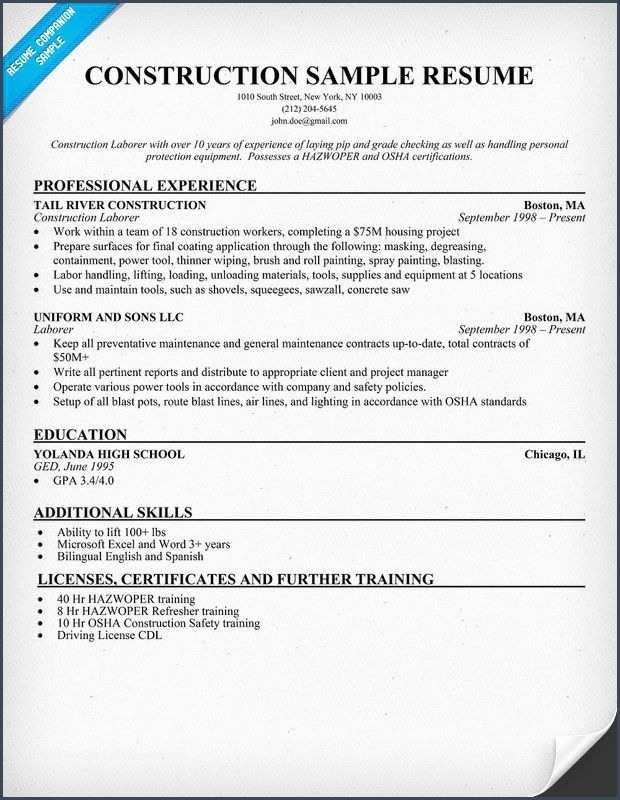55 Construction Resume Resume Sample Resume Resume Examples