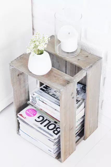 Caisse en bois utilisée en range revue