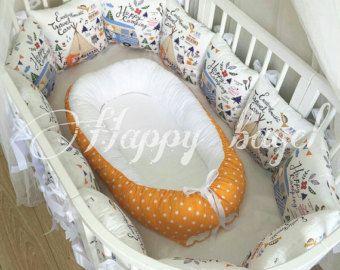 Babynest orange à pois / pare-chocs pour la sécurité dorment dans le lit de bébé / prêt pour l'expédition