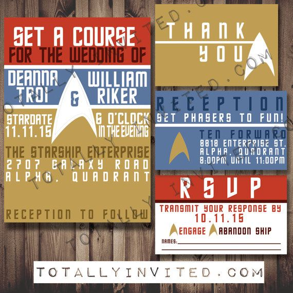 Matching Save The Date And Wedding Invitations: Star Trek Wedding Invitation Set