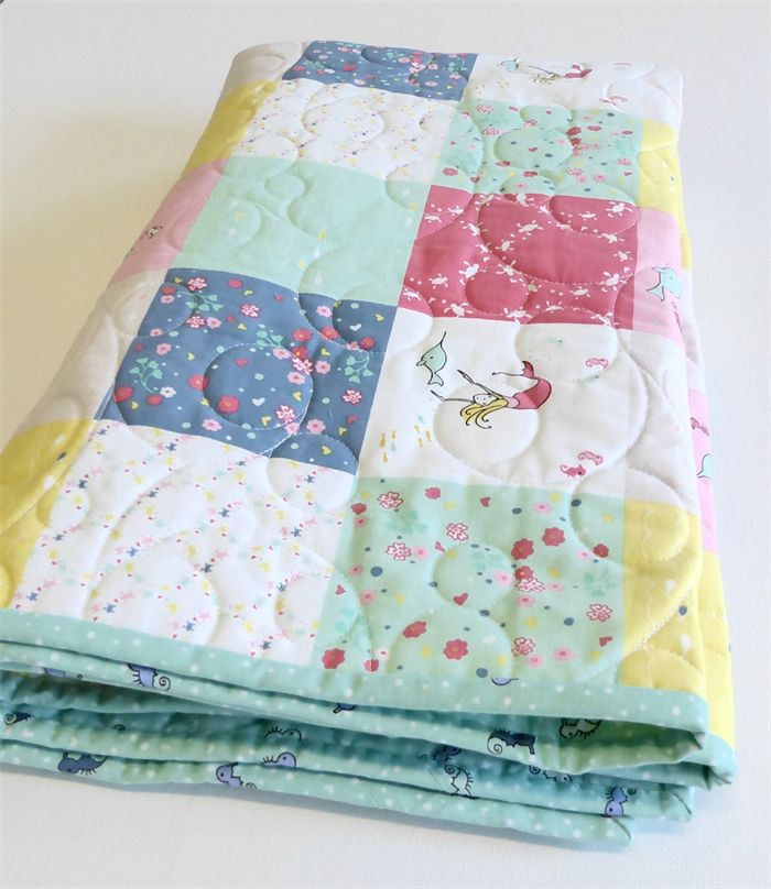 Salt Water Mermaids & Seahorses - Cot Quilt   available at WendyJQuilts    Madeit.com.au