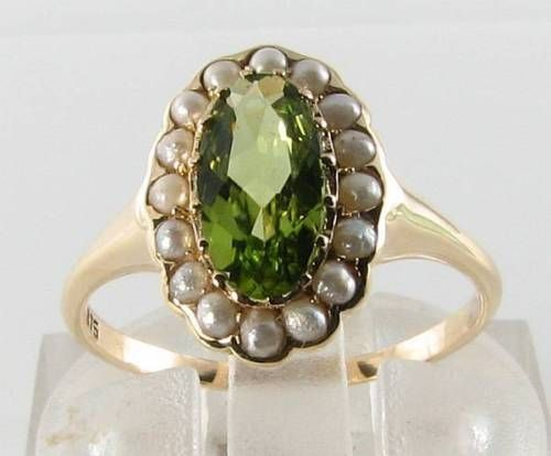QUALITY-9K-GOLD-N-FLAWLESS-PERIDOT-amp-PEARL-ART-DECO-INS-CLUSTER-RING-FREE-SIZE