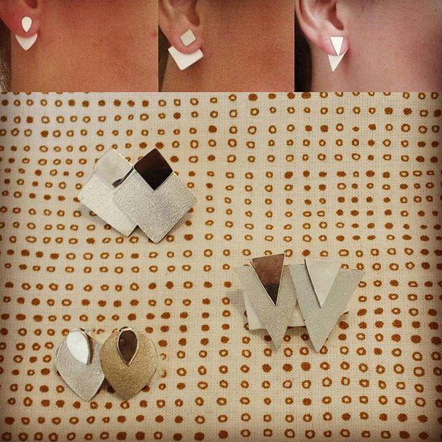 Örhängen Fyrkanter, trekanter och droppar i Sterling silver.  #örhängen #silver #silversmide #earrings