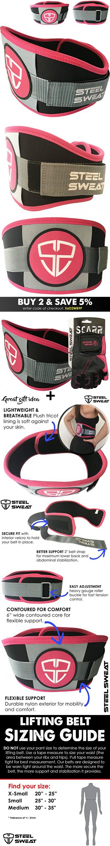 Weight Lifting Belt by Steel Sweat for Women - 6 inch Flexible Lightweight Contoured Belt - Best for Gym, Exercise, Workout, Training, Weightlifting Columba