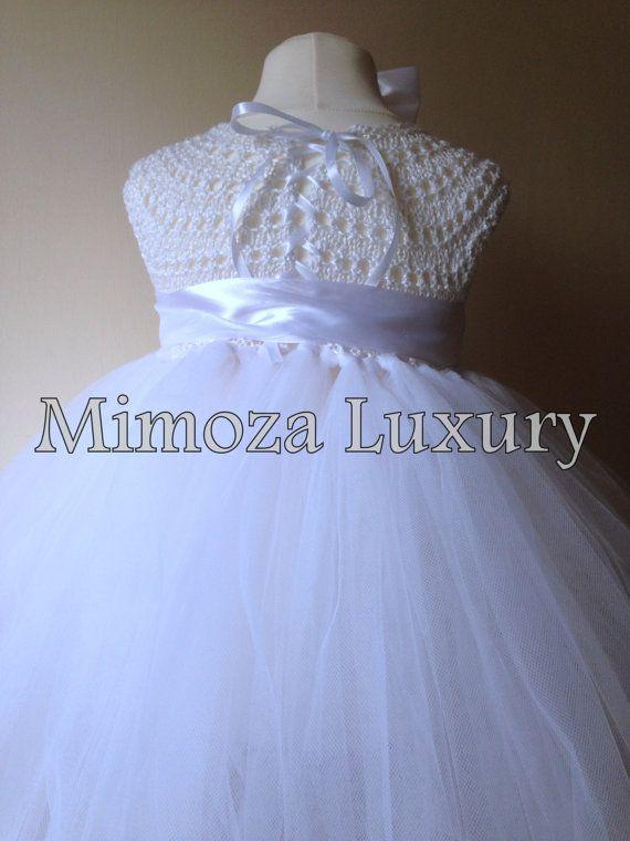 White Flower girl dress tutu dress bridesmaid by MimozaLuxury