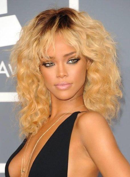 Rihanna Dark Root Capless Full Bang Body Wave Human Hair Wigs