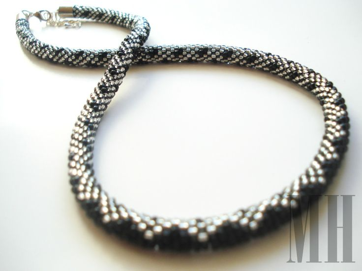 CZARNO-SREBRNY NASZYJNIK   MH Biżuteria - cuda ręcznie wykonane