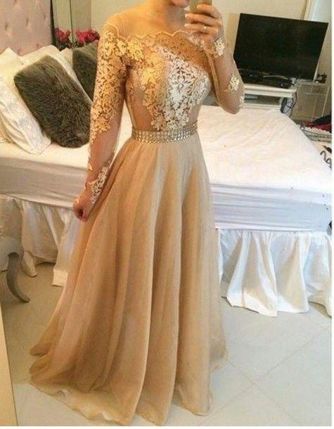 2015 Appliques Gold Prom Dresses, Floor-Length Prom Dresses, Real Made Evening Dresses,Chiffon Backless Evening Dresses, Evening Dresses On Sale
