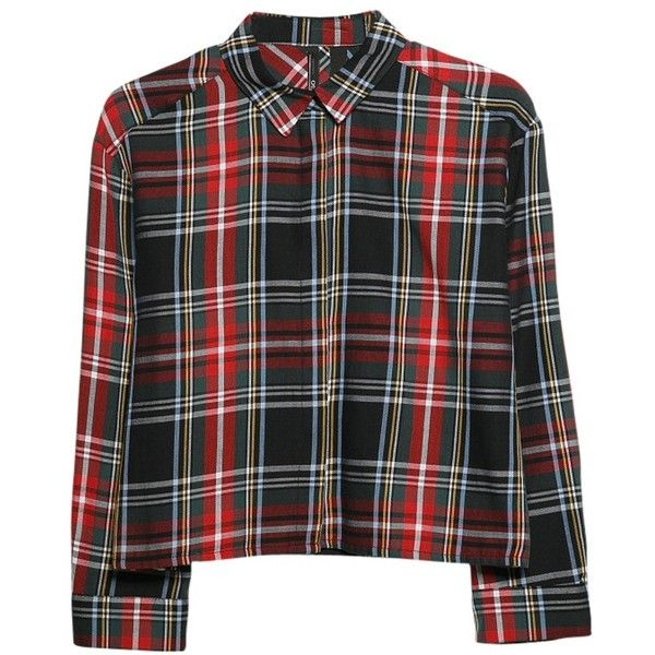 Mango Plaid Cropped Shirt, Bright Red found on Polyvore