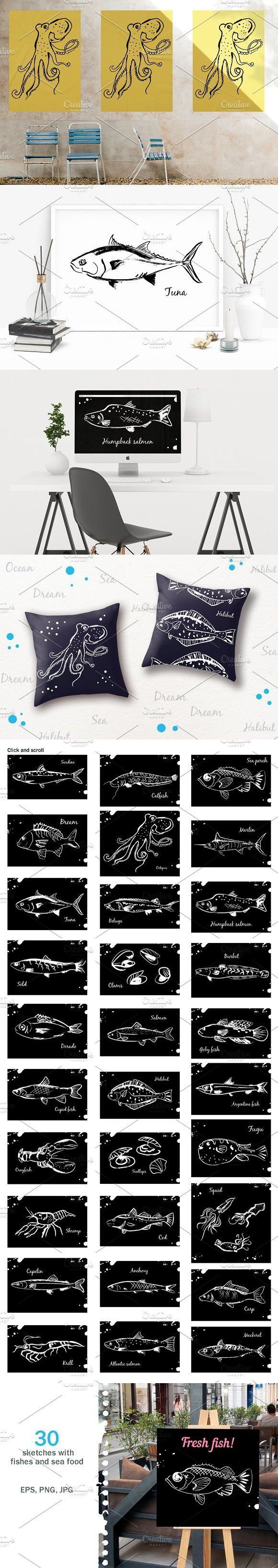 sketches with fishes and sea food puppy training pinterest