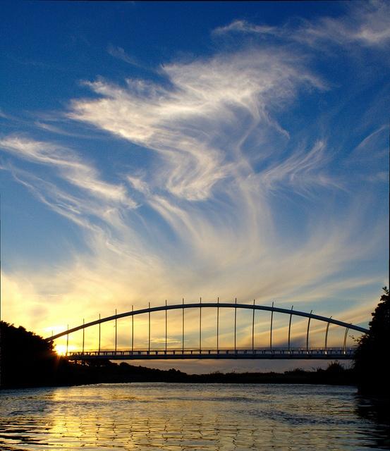 Te Rewa Rewa Bridge Sunset, New Plymouth, New Zealand