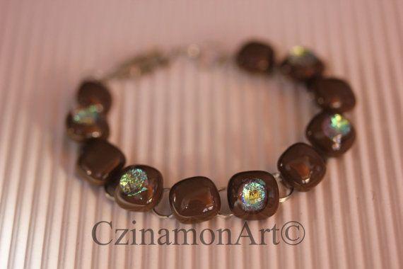 Brown Green Dichroic Fused Glass Bracelet Green by CzinamonArt, €25.00