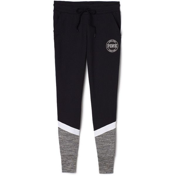 PINK Skinny Collegiate Pant ($35) ❤ liked on Polyvore featuring activewear, activewear pants, grey, collegiate sportswear and pink sportswear