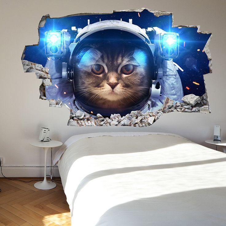 Adesivo da parete 3D gatto nello spazio | Saldi su Lesara