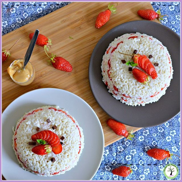 Half-brown basmati rice pudding cooked in almond milk with vanilla beans I layered it with extra-fresh and fragrant strawberries from my garden.