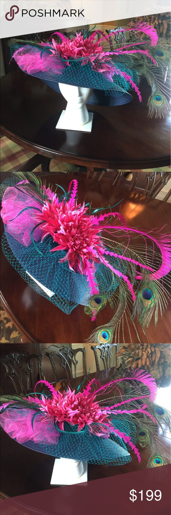 Derby wide brim hat. KY Derby navy and pink wide brimmed hat. Worn once to the derby and made by yours truly! This hat is gorgeous on!!! No trades or lowballs please. Accessories Hats