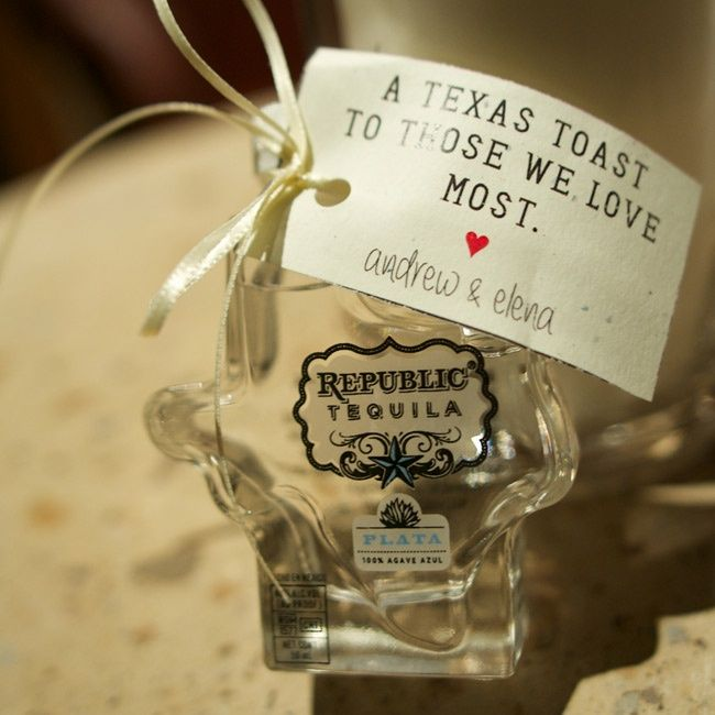 Tequila Favors // Ashley Garmon Photographers //  Favors: Republic Tequila // http://www.theknot.com/weddings/album/a-vintage-romantic-wedding-in-austin-tx-139845