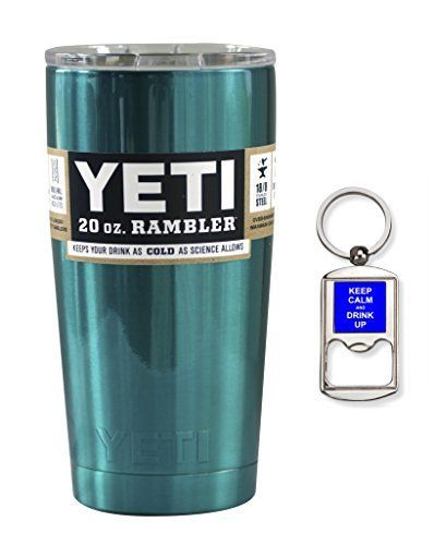 YETI Coolers Custom Powder Coated Stainless Steel 20 Ounce 20oz 20 oz Rambler Tumbler Cup Mug with Lid Teal Shimmer >>> You can find more details by visiting the image link.