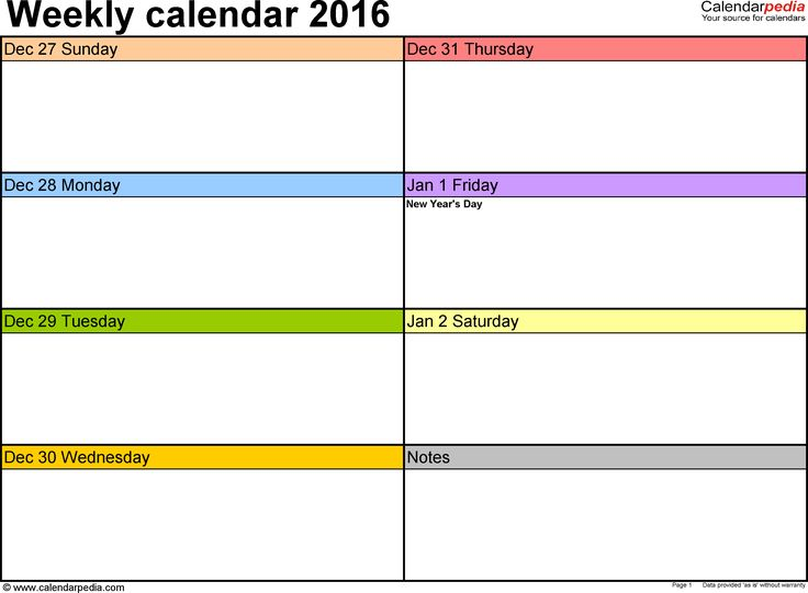Weekly calendar 2016: template for Word version 2, landscape, 53 pages