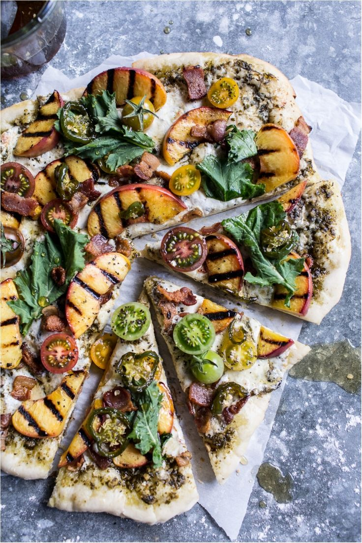 BLT + Grilled Peach Pizza with Jalapeno Honey + Gorgonzola