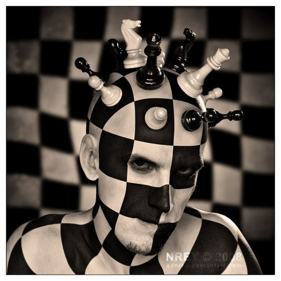 Constantly checking our motives needs to be an integral part of our Spiritual navigational system, we will begin to depend more on knowledge produced by Divine guidance. To trust this guidance requires that we regain access to our Spiritual navigational components, which present themselves in the form of our intuition, heart, conscience, and feelings.: Chess Head, Photos Manipulation, Chess Boards, Amazing Artworks, Digital Art, Chess King, Body Art, Photomanipul, Bodyart