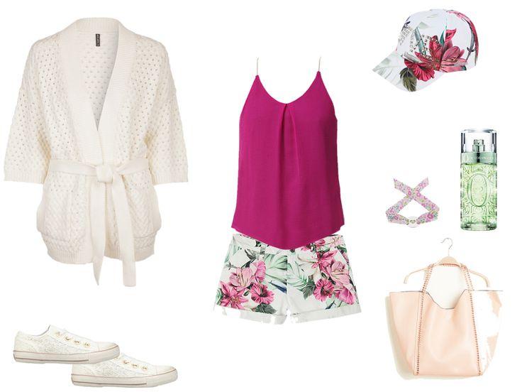 Décontracté : Tennis/basket Ash blanc, Bracelet Atelier de Famille rose et Parfum Lancôme