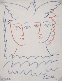 primary-yellow:  PABLO PICASSODEUX FIGURES ET COLOMBE, 1956