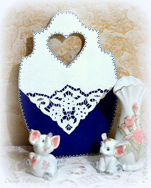 Декор предметов Мастер-класс Декупаж Небольшой МК по имитации вышивки ришелье Бумага Клей Краска фото 1