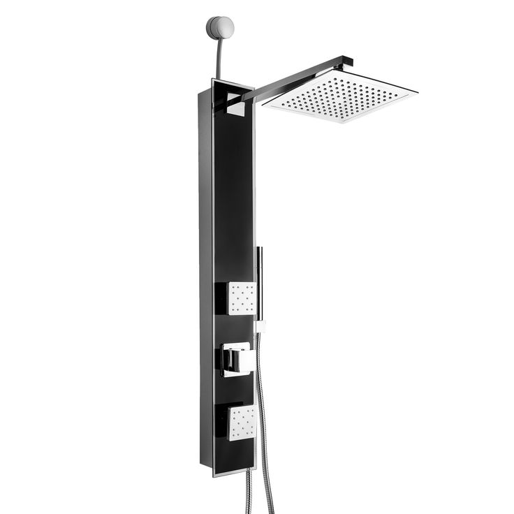 Golden Vantage 35-inch Easy Connect Tempered Glass Black Wall Mount Rainfall Style Multi-Function Shower Panel System (GV-SP0042)