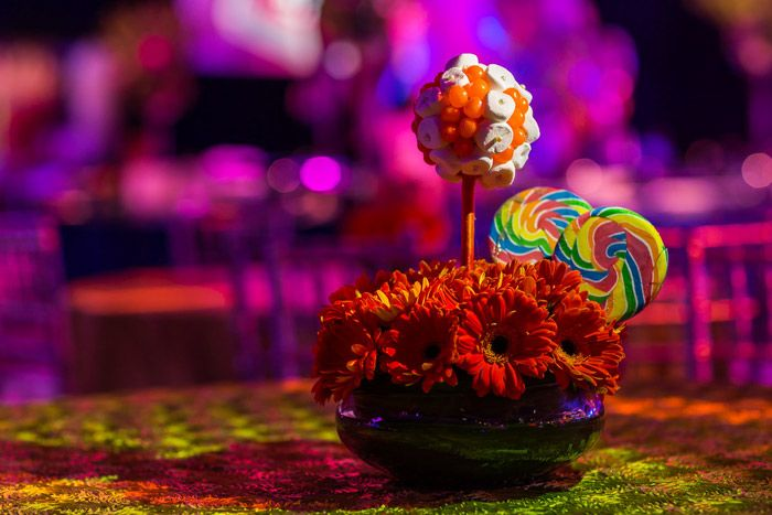 Floral centerpieces included edible candy. Photo: Sean Twomey/2me Studios