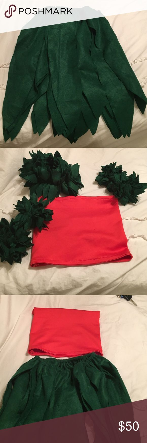 Hula costume !!!! Lilo! Red tube top! Grass skirt, grass headband and grass ankle and wrist bands !!! Other