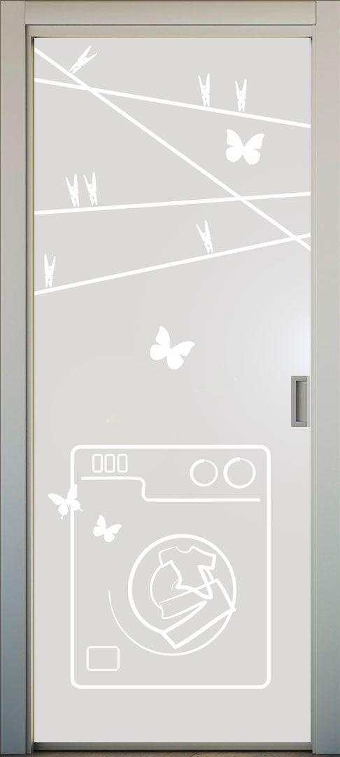 Vinilo translucido para la puerta del lavadero o la cocina. El dibujo puede estar recortado o impreso a color. Queda genial!!. #lovevinilos