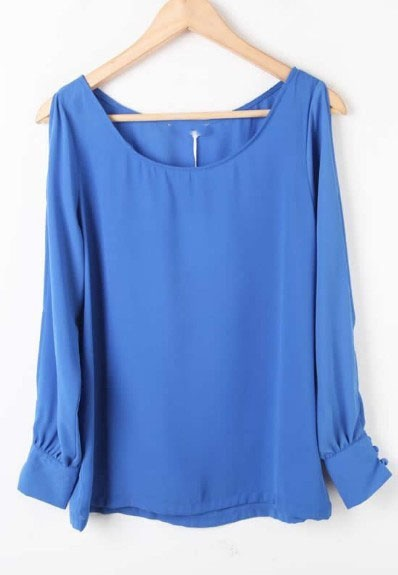 Blue Long Sleeve Off the Shoulder Chiffon Blouse